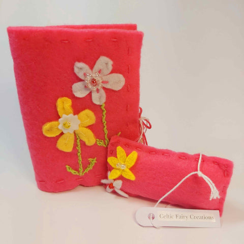 Needle Book And Pin Cushion Set In Pink With Floral Motif, By Celtic Fairy Creations - Parade Handmade