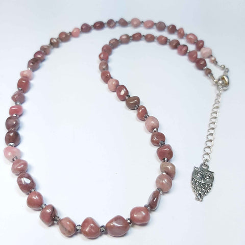 Gemstone Necklace of Rhodonite and Crystal, By Lapanda Designs - Parade Handmade