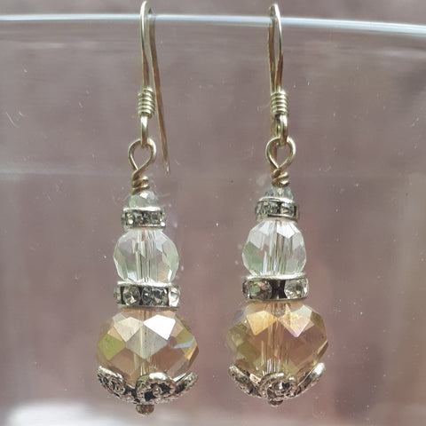 Antique Style Crystal & Faceted Glass Drop Earrings, By Lapanda Designs - Parade Handmade