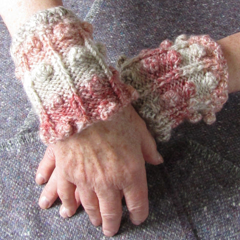 Aran Style Wrist Warmers in Peach Ladies Med, By Bridie Murray - Parade Handmade