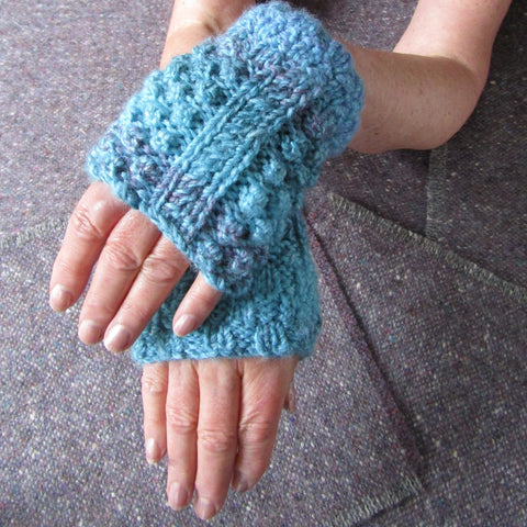Aran Style Wrist Warmers, Blue Ladies Med, By Bridie Murray - Parade Handmade