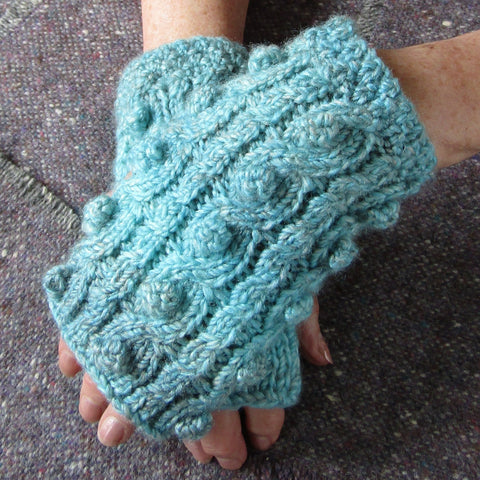 Aran Style Wrist Warmers, Blue, Ladies, Med, By Bridie Murray - Parade Handmade