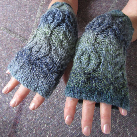 Aran Style Wrist Warmers, Ladies, Blue Green, Small, By Bridie Murray - Parade Handmade