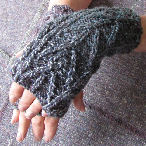 Aran Style Wrist Warmers, Ladies, Grey, Med,  By Bridie Murray - Parade Handmade