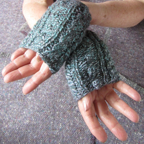 Aran Style Wrist Warmers, Multi-col, Ladies Med, By Bridie Murray.  - Parade Handmade