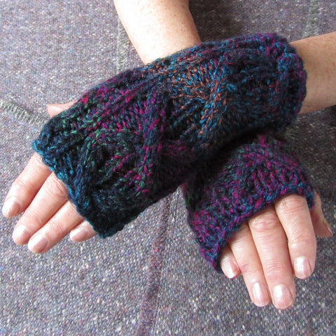 Aran Style Wrist Warmers, Multi-col, Ladies, Med, By Bridie Murray - Parade Handmade
