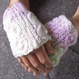 Aran Style Wrist Warmers, Peach Ladies Small, By Bridie Murray - Parade Handmade