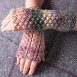 Aran Style Wrist Warmers, Peaches, Ladies, Med, By Bridie Murray - Parade Handmade
