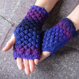 Aran Style Wrist Warmers, Purple Ladies Med, By Bridie Murray - Parade Handmade