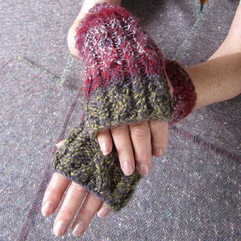 Aran Style Wrist Warmers, Two-tone, Ladies, S, By Bridie Murray - Parade Handmade