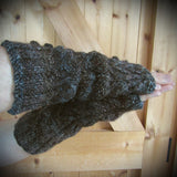 Aran Wrist Warmers in Variegated, Mens XL, By Bridie Murray - Parade Handmade