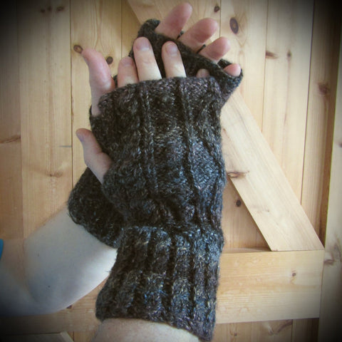 Aran Wrist Warmers, Brown and Black, Mens, L, By Bridie Murray - Parade Handmade