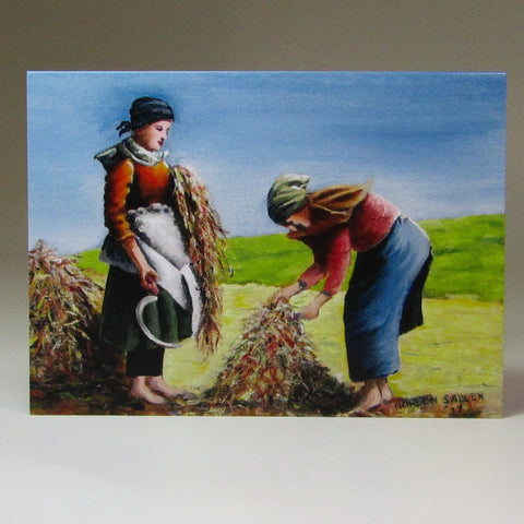Art Card, 'Jobs for the Girls', Stacking the Flax, Achill Island, circa 1890, by Noreen Sadler - Parade Handmade