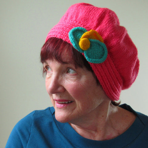 Arty Little Pink Hat With Floral Detail, By Jo's Knits - Parade Handmade