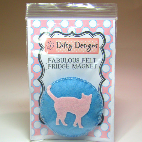 Blue Felt Cushion Fridge Magnet with Pink Cat,  By Ditsy Designs - Parade Handmade