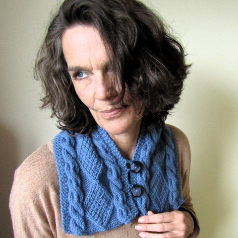 Blue Hand Crafted Aran Neckwarmer, One Off, By Shoreline - Parade Handmade