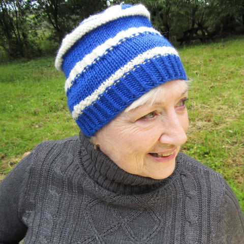 Blue and White Striped Hat, By Shoreline - Parade Handmade