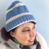 Blue and White, Handknit Wooly Hat, By Shoreline - Parade Handmade