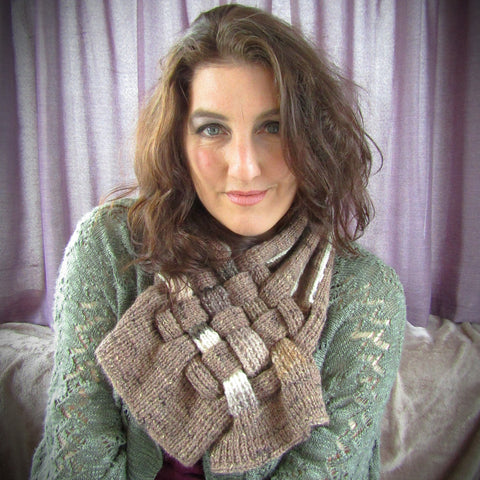 Brown & Cream, Handknit Scarf Neck Piece, By Shoreline - Parade Handmade