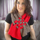 Brown & Red Lattice Handknit Scarf, By Shoreline - Parade Handmade