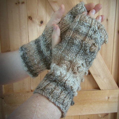 Brown and Beige Handknit Aran Wrist Warmers. Mens XL, By Bridie Murray - Parade Handmade