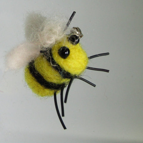Bumble Bee Felt Wool Brooch, Blonde Fringe, By Parade Handmade - Parade Handmade