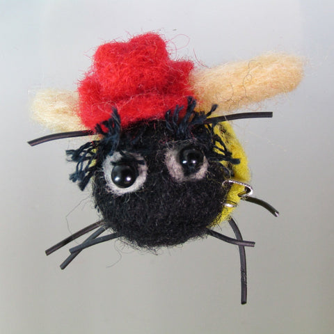 Bumble Bee with Red Fedora, Felt Brooch, By Parade Handmade - Parade Handmade