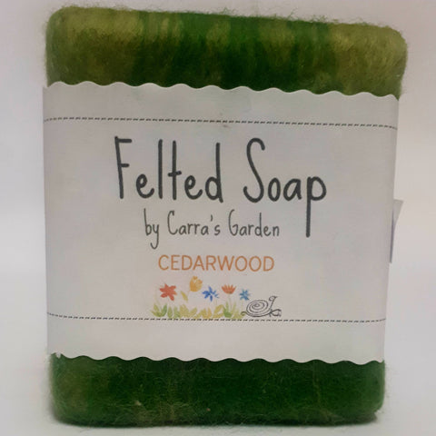Cedarwood Felted Goat's Milk Soap, By Carra's Garden - Parade Handmade