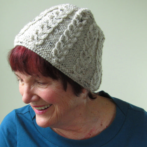 Celtic Knotwork Aran Hat In Beige Flecked Wool, By Jo's Knits - Parade Handmade