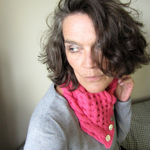 Cheeky Bubblegum Pink Aran Neckwarmer, By shoreline - Parade Handmade