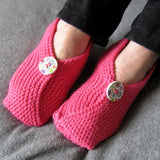 Chinese Style Hot Pink Hand Knitted Slipperettes, By Shoreline - Parade Handmade