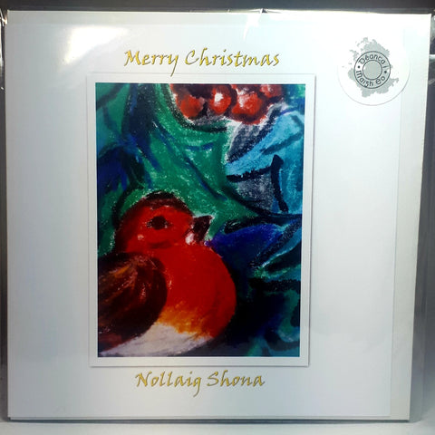 Christmas Robin Art Card, Nollaig Shona, By Jane Dunn - Parade Handmade