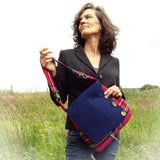 Classic Woolen Tartan Chic Shoulder Bag In Red & Navy, By Shoreline - Parade Handmade