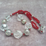 Clear Glass Bead Necklace With Red Detail, By Lapanda Designs - Parade Handmade