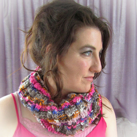 Colourful Cowl Scarf In Shades Of Pink & Brown, By Bridie Murray - Parade Handmade