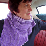 Cosy Lilac Ribbed Scarf/Shawl, By Shoreline - Parade Handmade