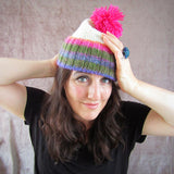 Cream Hat With Green, Pink, Lilac, Orange. Pink Bobble, By Shoreline - Parade Handmade