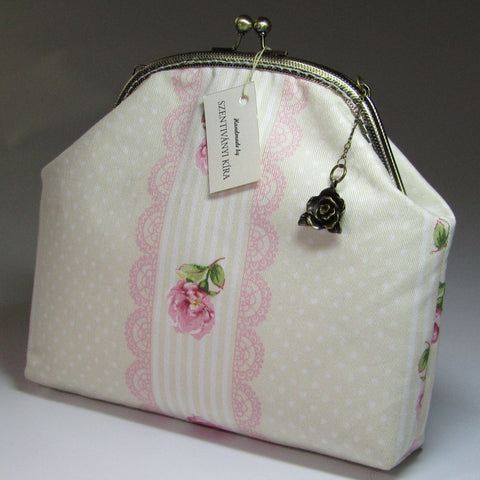 Cream and Pink Floral Vintage Style Handbag, By Kira Szentivanyi - Parade Handmade
