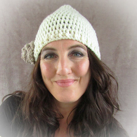 Crocheted Cream Wool Hat. Beige Floral Detail, By Shoreline - Parade Handmade