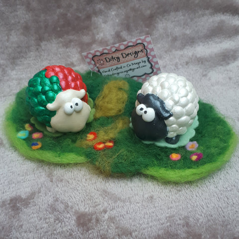 Cute Mayo Sheep & Pal in a Wooly field, By Ditsy Designs - Parade Handmade