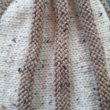 Cute Ribbed Hat In Beige & Flecked Cream Wool, By Jo's Knits - Parade Handmade