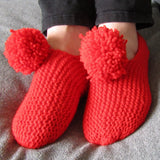 Cute and Snug Red Bobble Slippers, By Shoreline - Parade Handmade