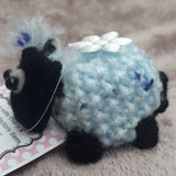 Cute blue little black faced lamb with white flower, by Ditsy Designs - Parade Handmade