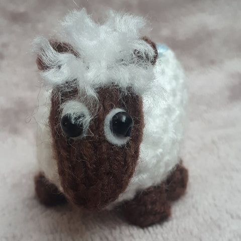 Cute little brown faced lamb with blue flower, by Ditsy Designs - Parade Handmade
