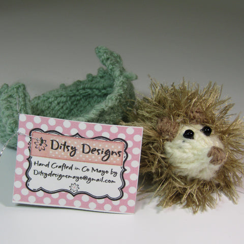 Cute, Beige Hedgehog with his Little Green Leaf, By Ditsy Designs - Parade Handmade