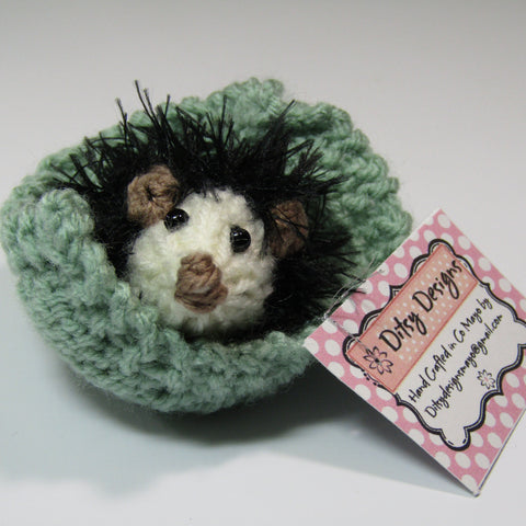 Cute, Black, Little, Hedgehog with his Green Leaf, by Ditsy Designs - Parade Handmade