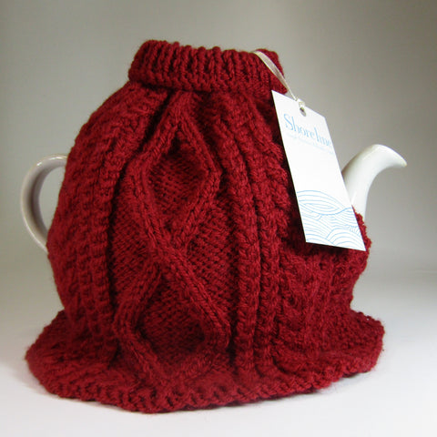 Cute, dark red, Irish aran style Tea Cosy, by Shoreline. - Parade Handmade