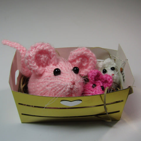 Cutie Mammy Mouse with Twins, In A Basket, By Ditsy Designs - Parade Handmade