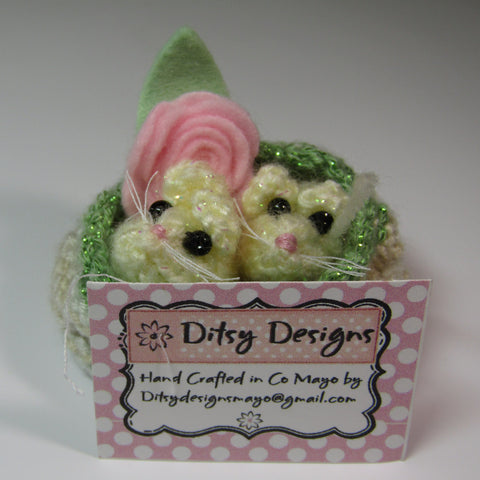 Cutie Twin Mice In A Basket, By Ditsy Designs - Parade Handmade