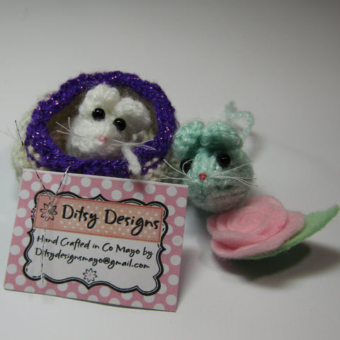 Cutie Twin Mice In A Basket, With Flower, By Ditsy Designs - Parade Handmade